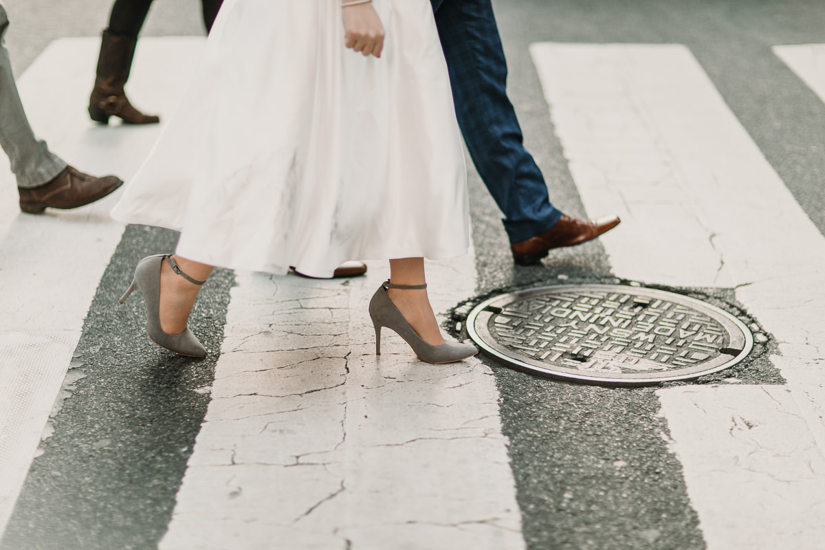 Laid back New York City elopement. An adventure from the Brooklyn Bridge to sunset at the Rockefeller centre. Photographed by Natalie Pluck. To see more from this wedding click here: https://www.nataliepluck.com/new-york-city-elopement/