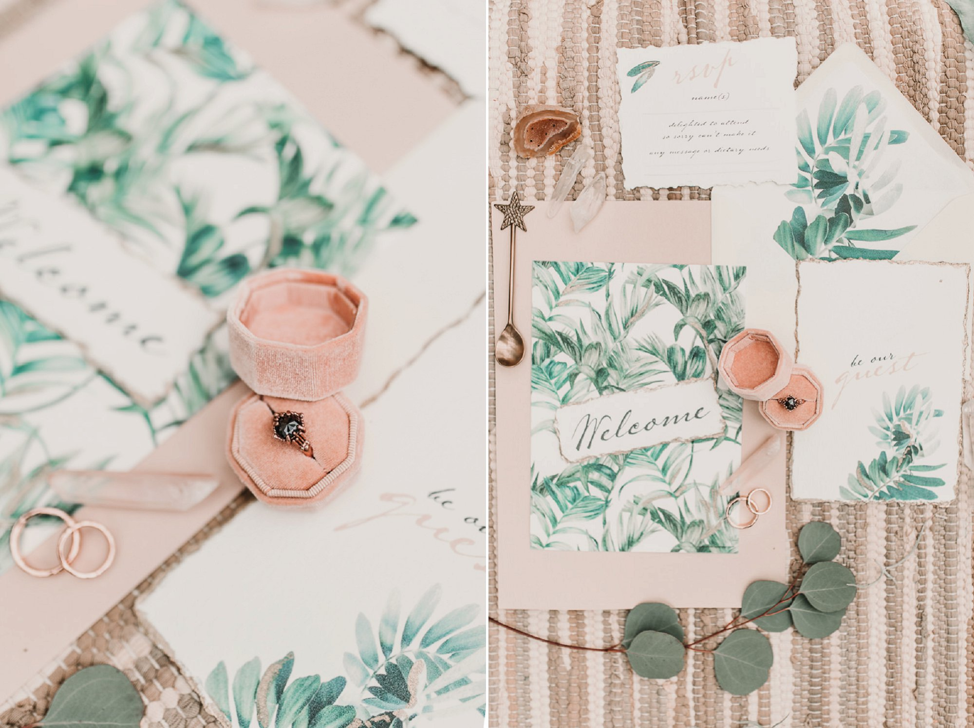 Boho engagement ring goals. Blush pink and palm wedding stationary. Blush and green Bohemian Wedding Inspiration bringing a little California to you where ever you are in the world. Relaxed styling and desert inspiration and vibes. Wedding ideas for boho brides who an effortlessly relaxed, bohemian wedding. Shot by Natalie Pluck Photography. See full blog post for credits and more inspiration here https://www.nataliepluck.com/bohemian-wedding-inspiration/ 