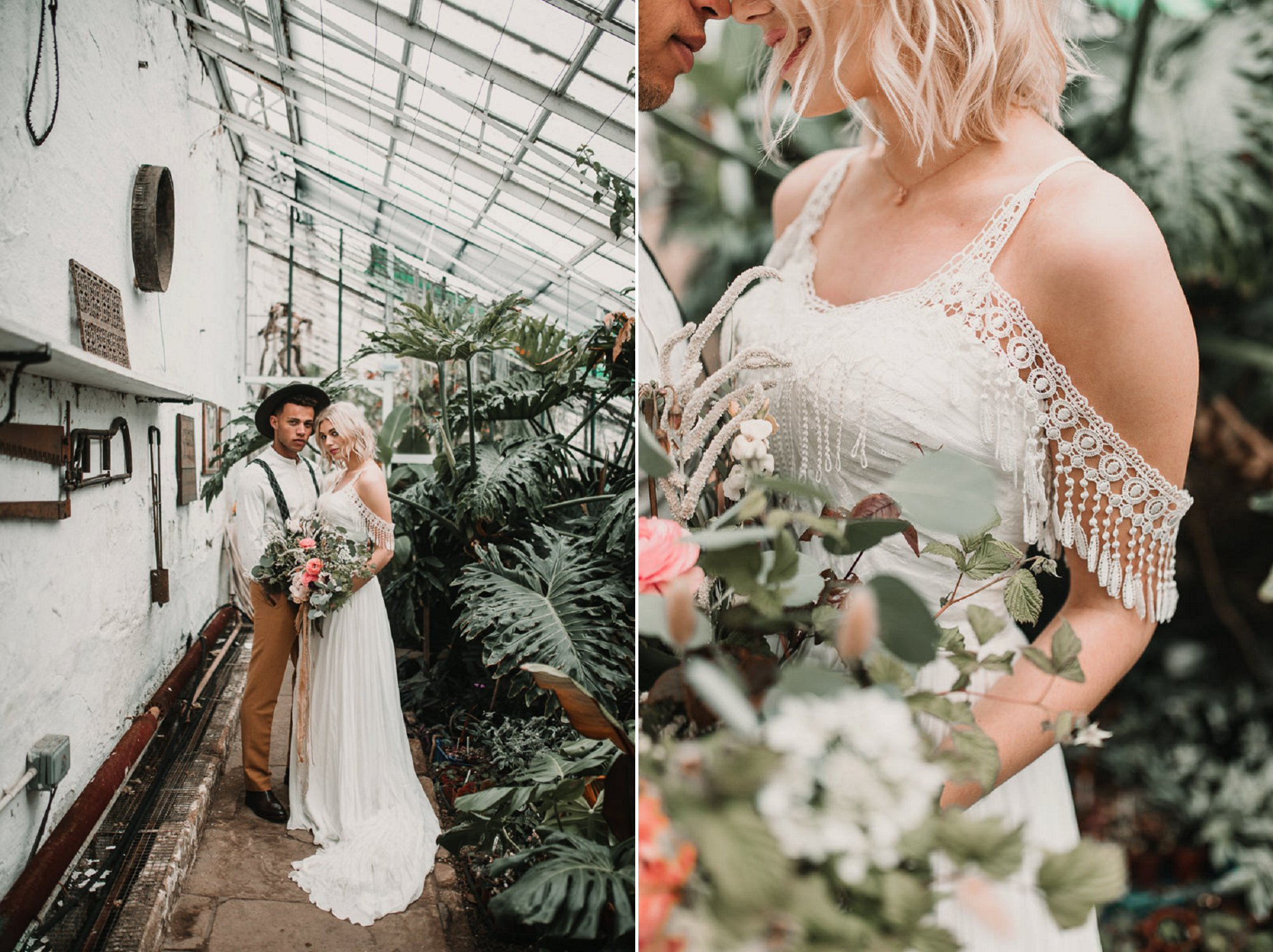 Rad wedding dresses for badass brides. (Shikoba Bride) Blush and green Bohemian Wedding Inspiration bringing a little California to you where ever you are in the world. Relaxed styling and desert inspiration and vibes. Wedding ideas for boho brides who an effortlessly relaxed, bohemian wedding. Shot by Natalie Pluck Photography. See full blog post for credits and more inspiration here https://www.nataliepluck.com/bohemian-wedding-inspiration/ 