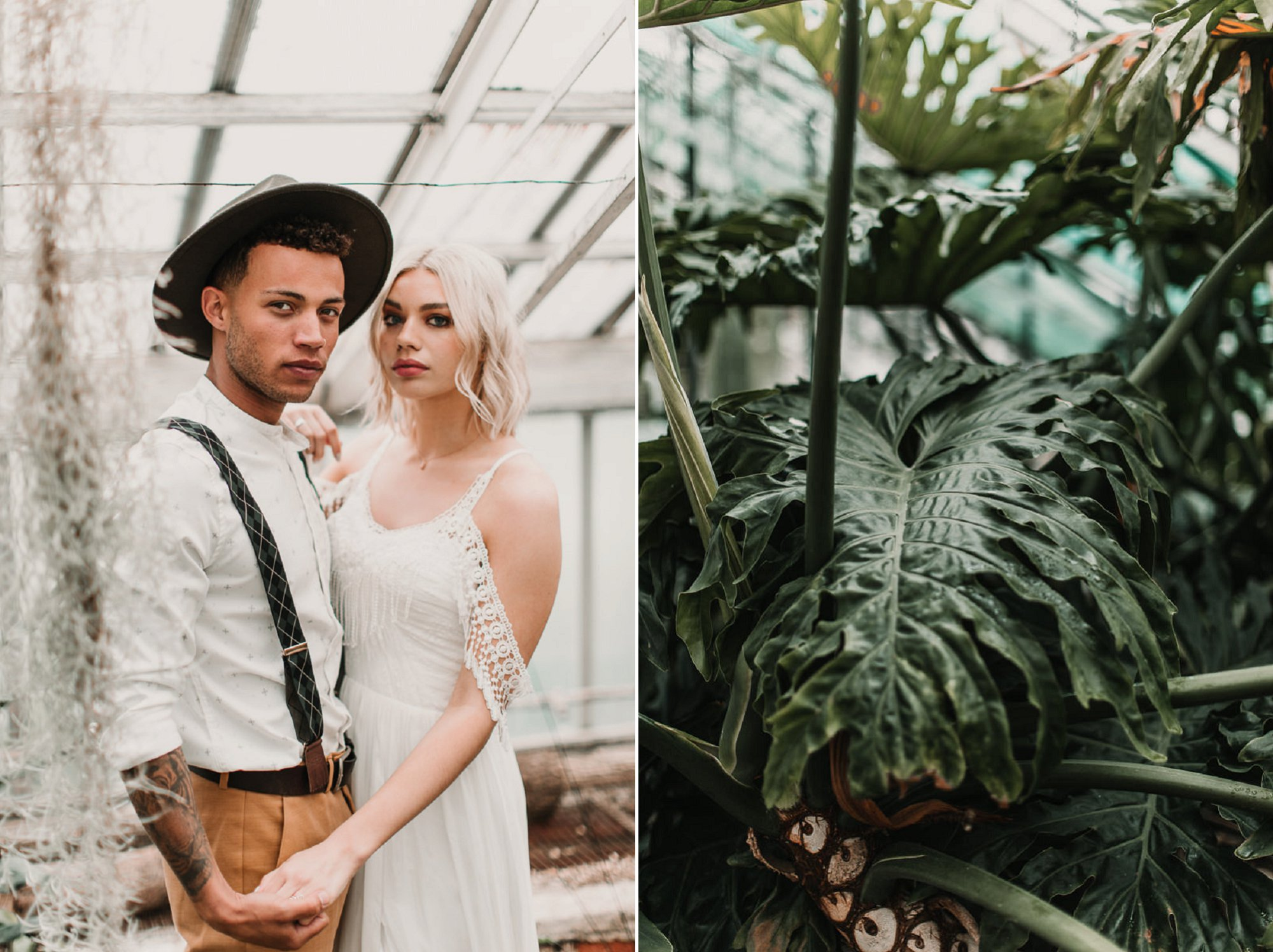 Wedding in a palm house? Yes please!! Blush and green Bohemian Wedding Inspiration bringing a little California to you where ever you are in the world. Relaxed styling and desert inspiration and vibes. Wedding ideas for boho brides who an effortlessly relaxed, bohemian wedding. Shot by Natalie Pluck Photography. See full blog post for credits and more inspiration here https://www.nataliepluck.com/bohemian-wedding-inspiration/ 