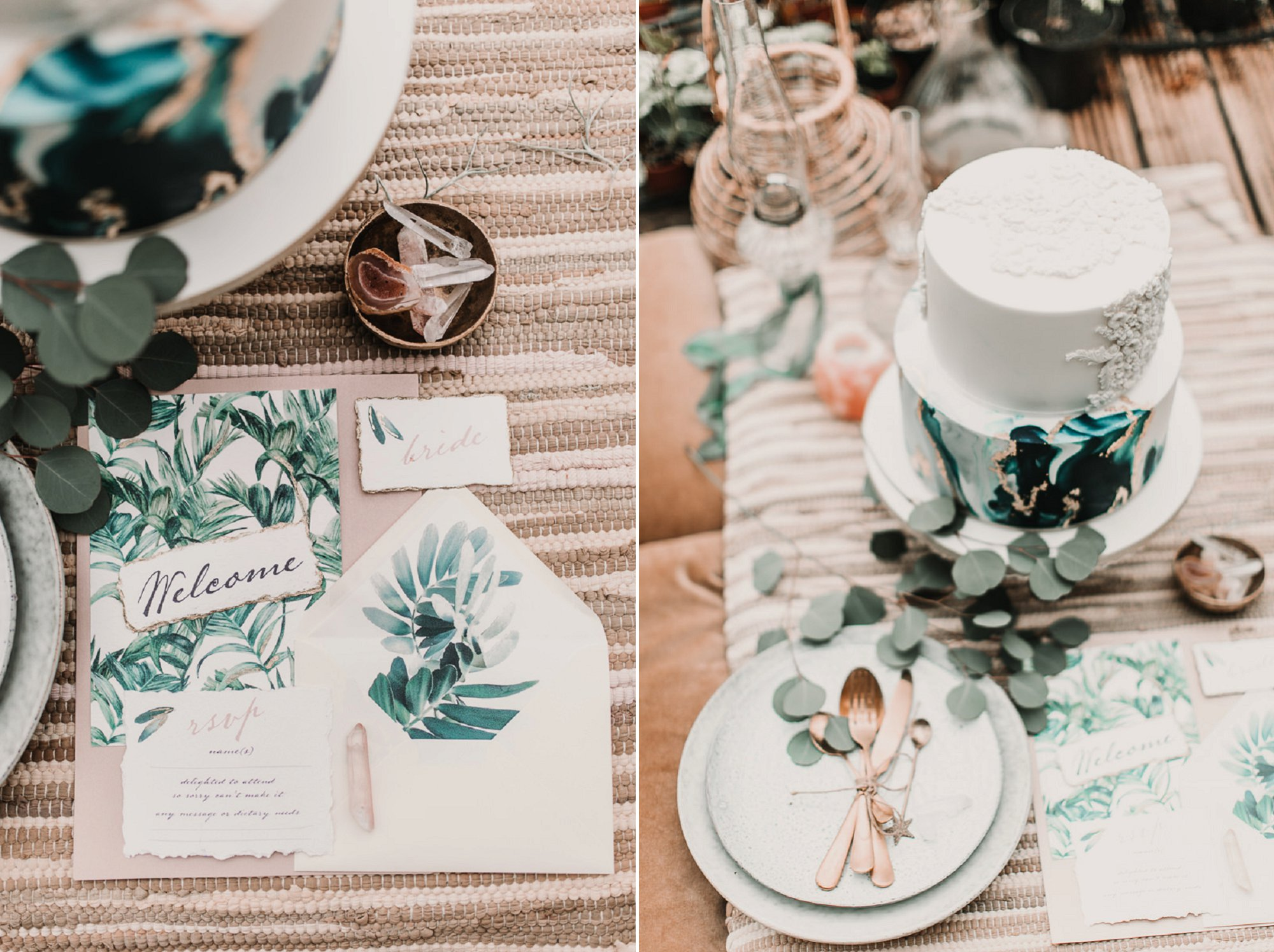 Blush and green Bohemian Wedding Inspiration bringing a little California to you where ever you are in the world. Relaxed styling and desert inspiration and vibes. Wedding ideas for boho brides who an effortlessly relaxed, bohemian wedding. Shot by Natalie Pluck Photography. See full blog post for credits and more inspiration here https://www.nataliepluck.com/bohemian-wedding-inspiration/ 