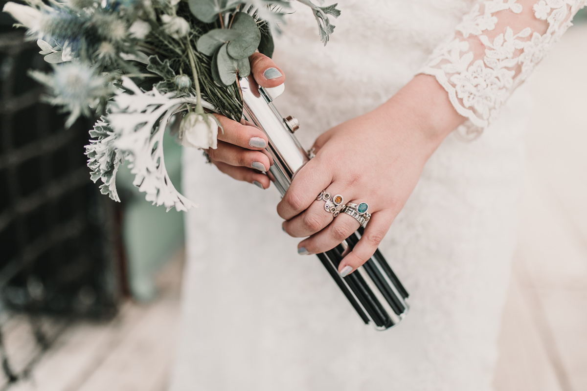 Sci-Fi Inspired Wedding with references to Star Wars, Star Trek, Dr Who and Firefly. Be sure to check out the Lightsaber bouquet! Photographed in a dreamy feminine style by photographed by Natalie Pluck. To see more from this wedding click here: https://www.nataliepluck.com/sci-fi-inspired-wedding/