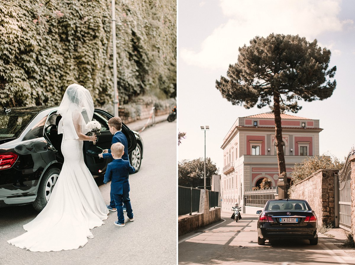 A beautiful Sorrento Wedding at Villa Fondi, 60s bridal vibes for Anna in her Sassi Holford Wedding dress and beautiful blue velvet shoes. All Photography by Natalie Pluck, for more of this wedding visit www.nataliepluck.com/sorrentowedding